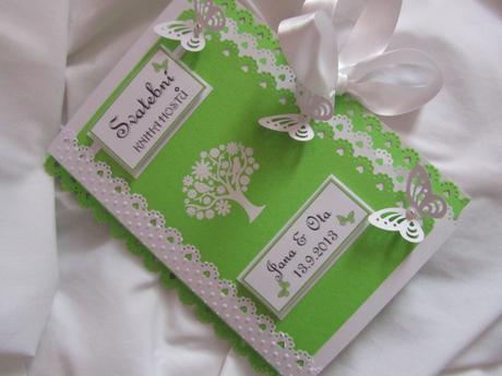 Svatební kniha hostů zelená,