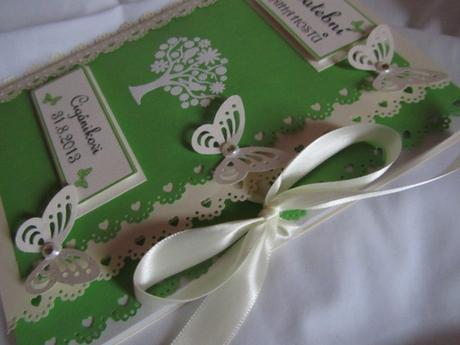 Svatební kniha hostů zeleno-champagne,