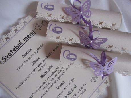Svatební menu-champagne lila dle přání,