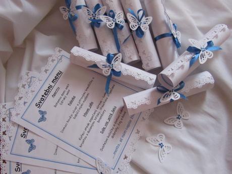 Svatební menu na přání- modré,