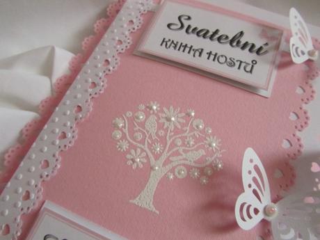 Svatební set-svatební kniha+záložka, pink,