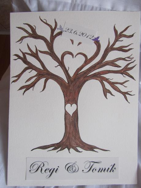 svatební strom -1- ručně malovaný,
