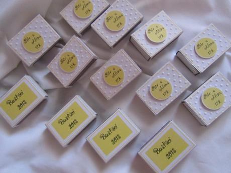 Svatební zápalky na přání- žluté,
