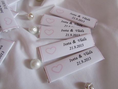 Svatební žvýkačky na přání světle růžové,