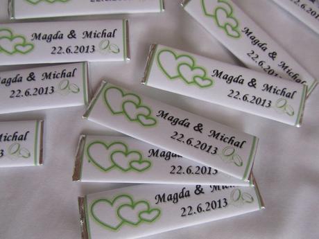 svatební žvýkačky na přání- tři srdíčka,