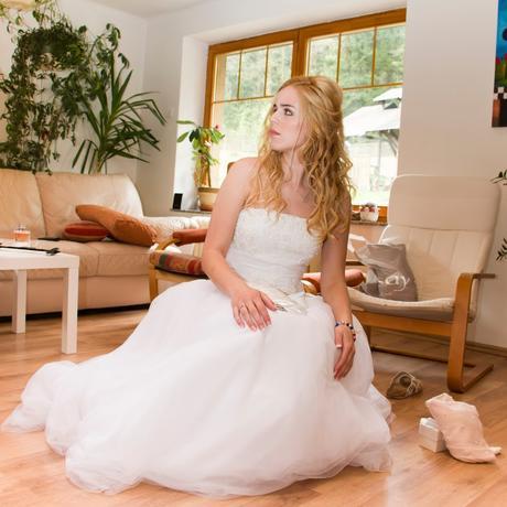 Bílé svatební šaty, 38-40, tylová sukně, princez., 40