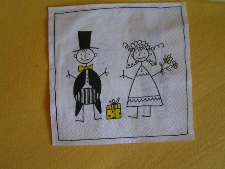 Papírové ubrousky ženicha a nevěsty ,