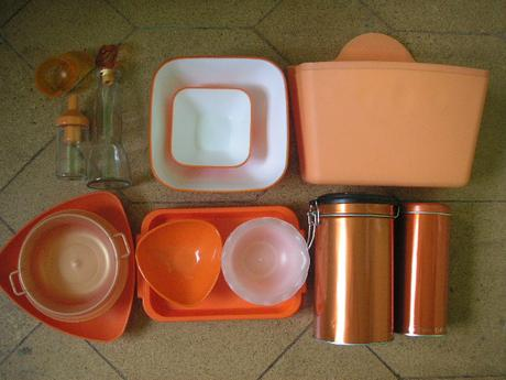 oranžová sada do kuchyne,