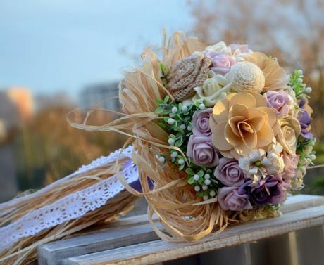 Svatební kytice Country Linda a korsáž,