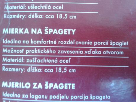 Mierka na špagety,