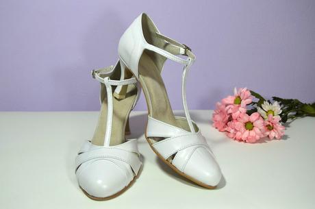 Svatební boty z pravé kůže 6 cm podpatek - bílá, 39