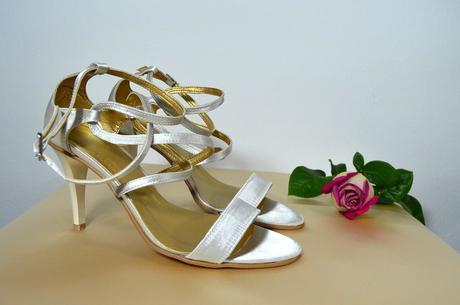 Svadobné sandálky perleťová satén veľ 37,5, 38