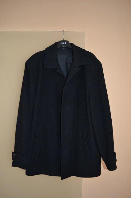 pánský černý flaušový kabát, 52