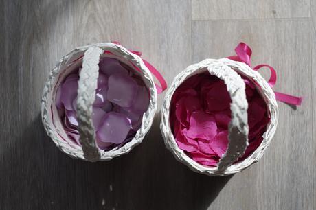 Plátky růží - barvy růžová a fuchsiová,