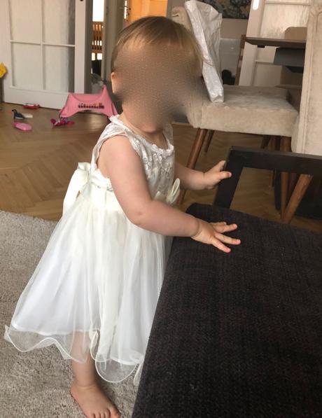 šatočky pre 1-ročné dievčatko vo farbe ivory, 80