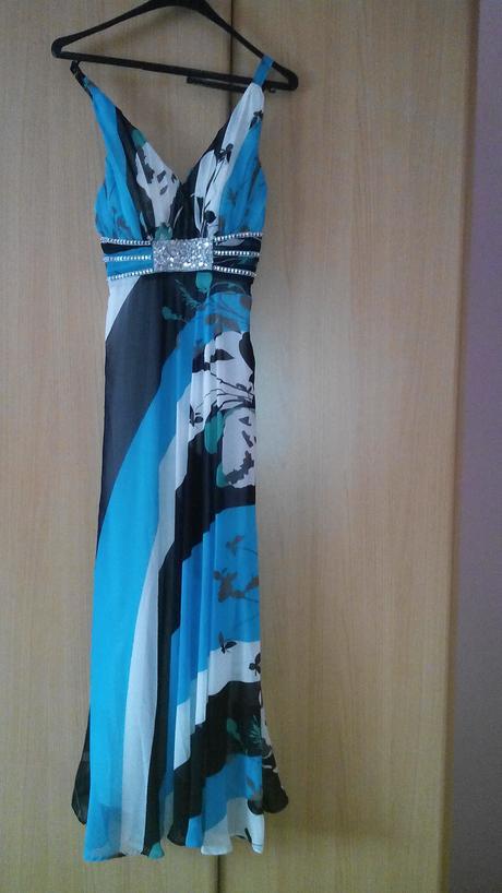 Modro-bielo-čierne šaty, 38