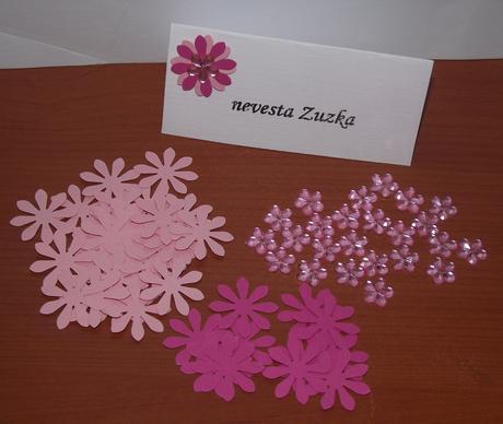 Set pre kreatívne nevesty - menovky s kvetinkou,