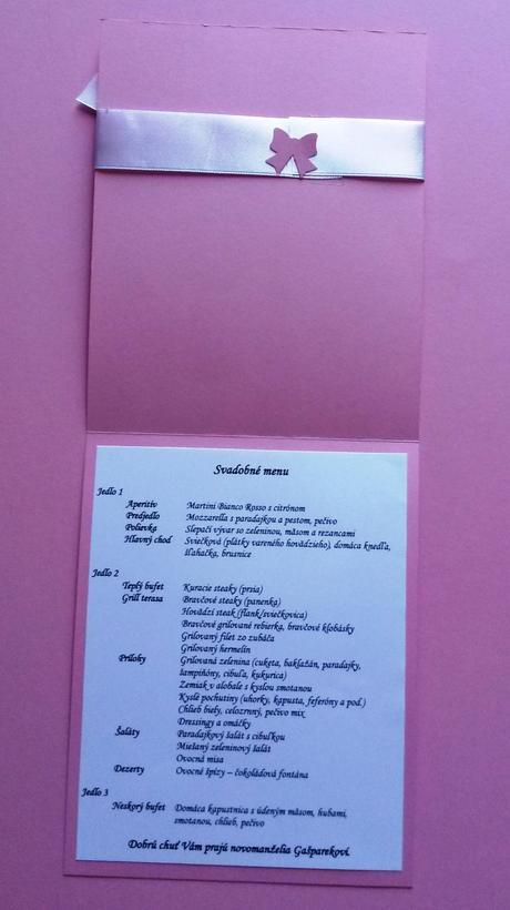 Svadobné menu - mašlička,
