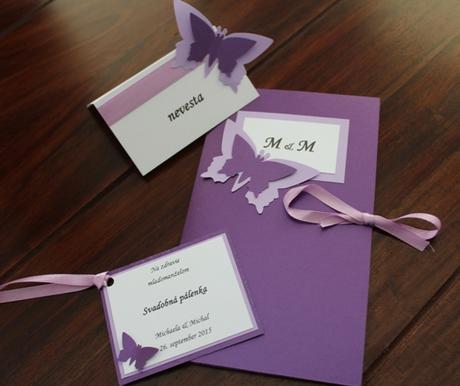 Svadobné menu - motýľ,