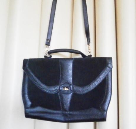 Černá kožená pevná retro kabelka, 36