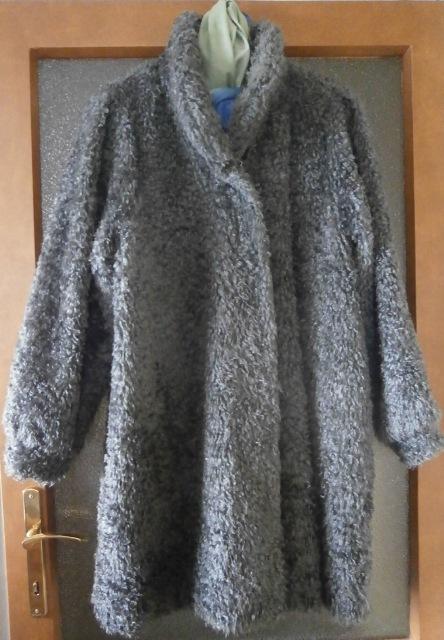Kožíšek umělý beránek šedý, XL