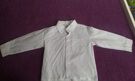 Detska biela kosela s dlhym rukavom, 80