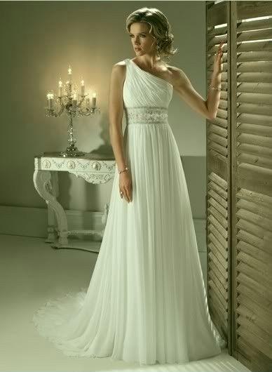 antické svatební šaty na jedno rameno bílé M-L, 38