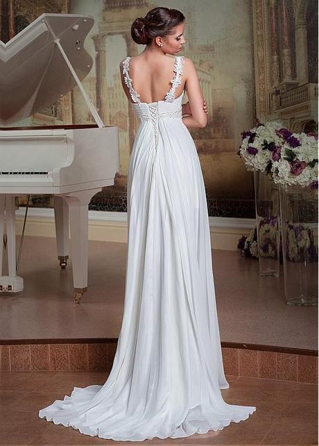 bílé antické svatební šaty na ramínka Silvia XS-S, 36