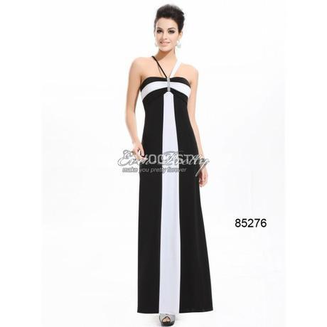 černo-bílé dlouhé společenské šaty Classic S-M , 36
