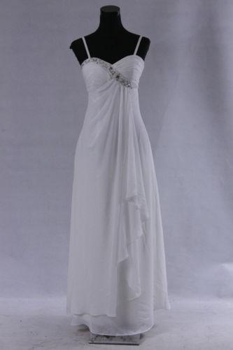jednoduché bílé svatební a nebo společenské šaty, 42