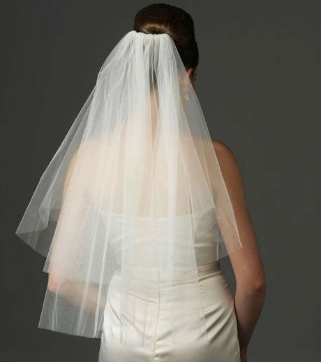 jemný tylový svatební závoj - bílý,