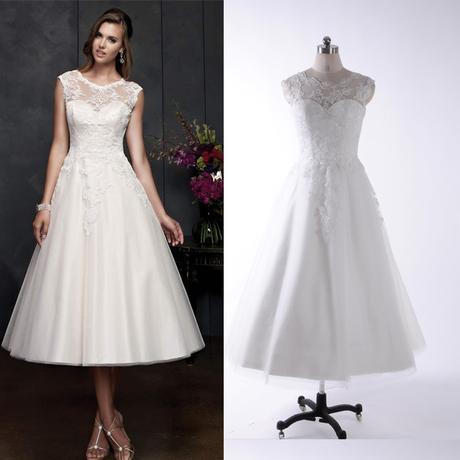 krátké retro bílé svatební šaty s krajkou Lara XXS, 34