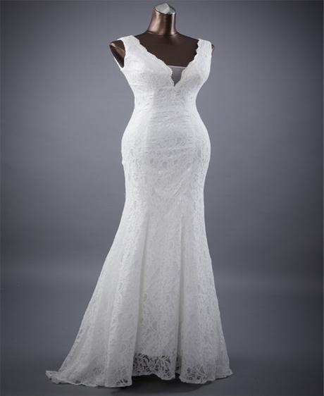 luxusní bílé krajkované upnuté svatební šaty Simon, 36
