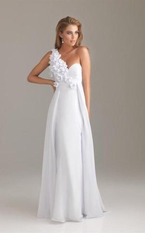 luxusní bílé svatební šaty na jedno rameno Afrodit, 38