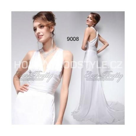 luxusní bílé svatební společesnské šaty L-XL, 40