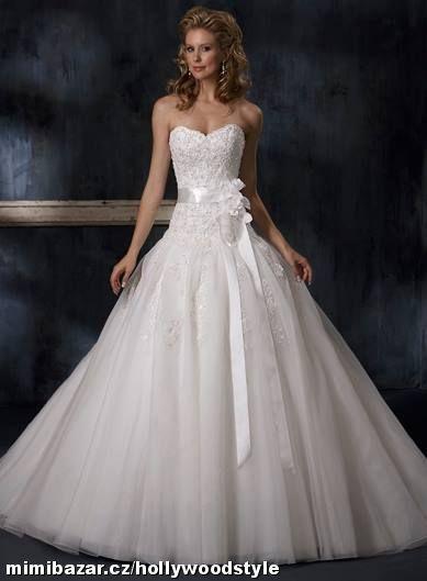 luxusní krajkové bílé svatební šaty Antonia M-XL, 38