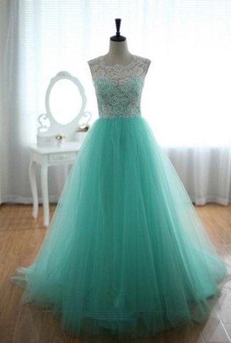 luxusní světle zelené plesové šaty tylové Penelopé, 36