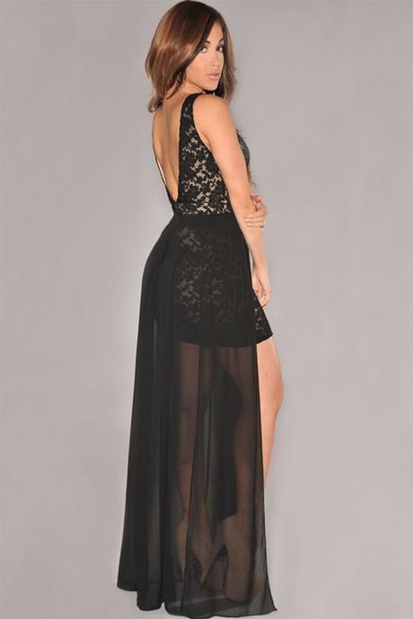 polodlouhé černé krajkované společenské šaty, 38
