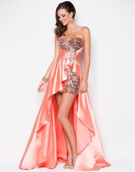 polodlouhé sexy plesové meruňkové šaty Laura XS-S, 36