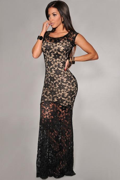 sexy krajkované černé společenské plesové šaty Lej, 38