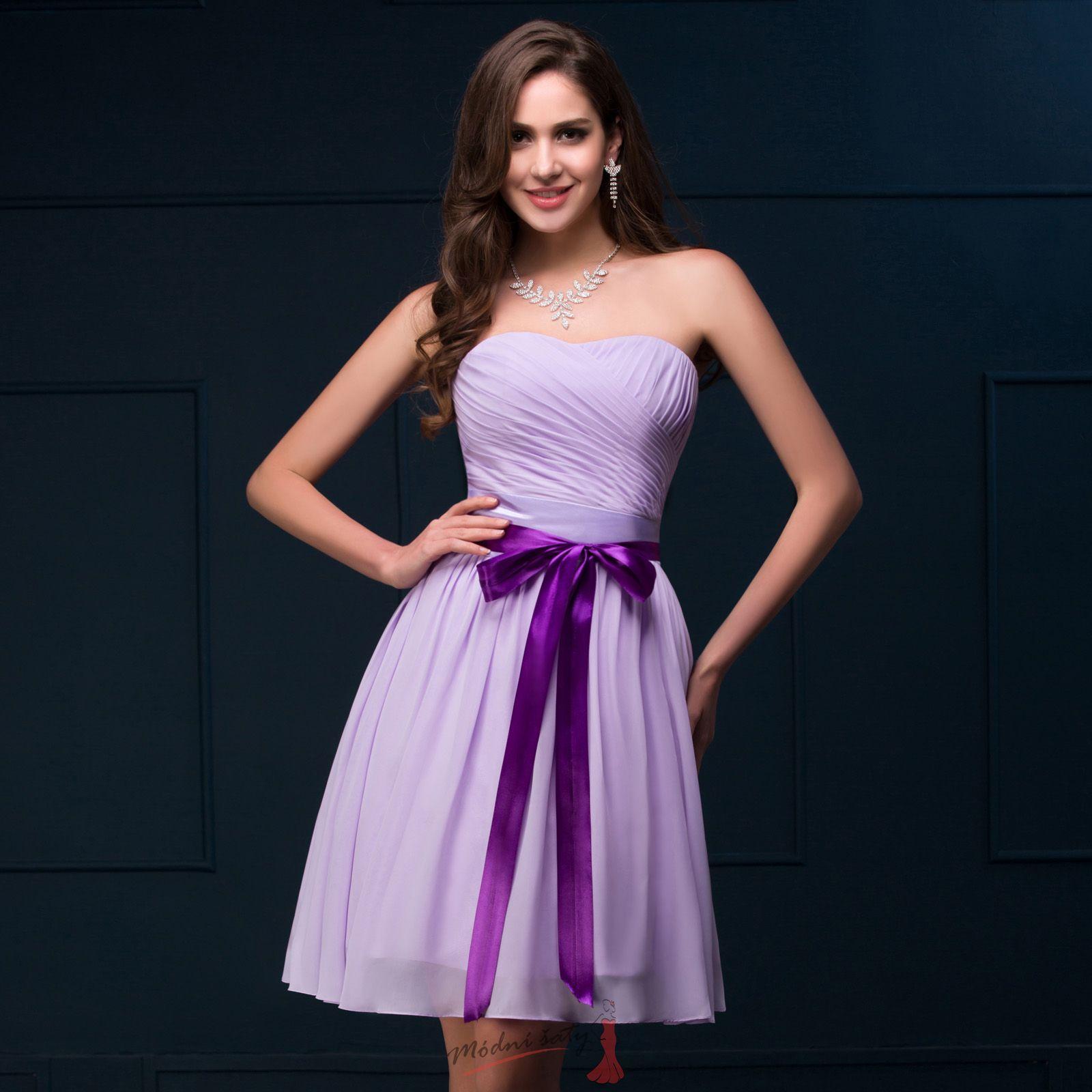 2a94cdddd134 Luxusní lila šaty pro svědkyni
