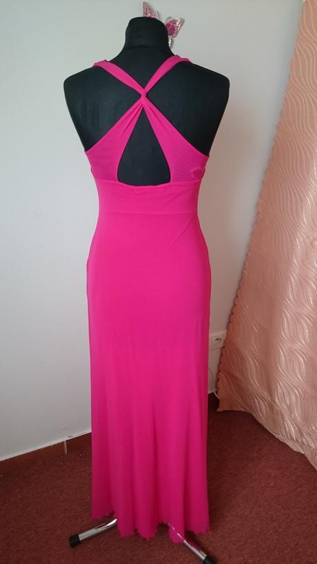 Cklamenové dlhé šaty, 34