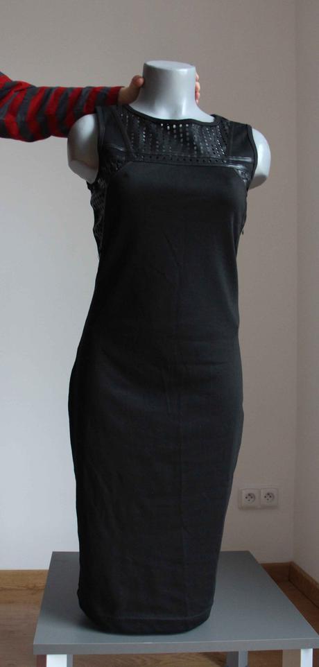 černé pouzdrové šaty s koženkovým vrškem, vel.S, z, S
