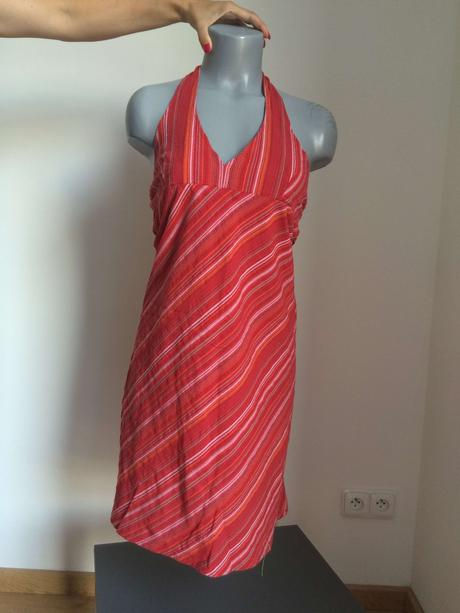 letní červené šaty s proužky s vázáním za krk, 36
