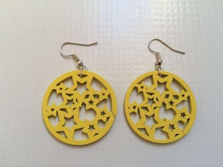 Náušnice žluté s hvězdičkami ,