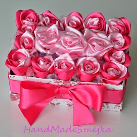 luxusné pink ruže v boxe-krabici,