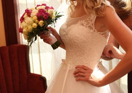 Svadobné šaty - predaj  (závoj,bolerko,kruh), 36