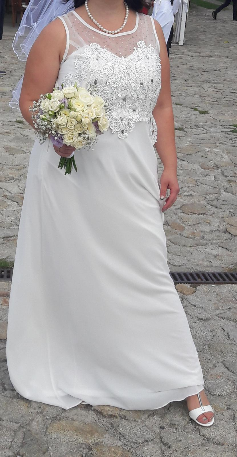 Ľahké biele svadobné šaty veľkosť 42 xl 81d9d5e4385
