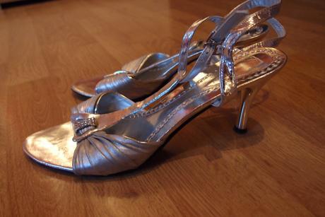 Strieborné spoločenské sandálky 41, 41