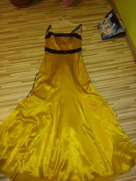 Žlto zlaté šaty - akcia, S